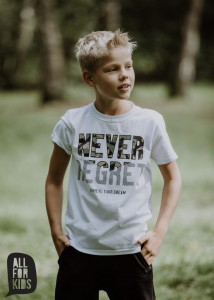T-shirt NEVER REGRET - BIAŁY / All for Kids