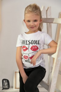 T-shirt AWESOME - BIAŁY / All For Kids