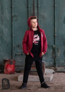 Rozpinana bluza z kapturem - BORDOWA / All for Kids